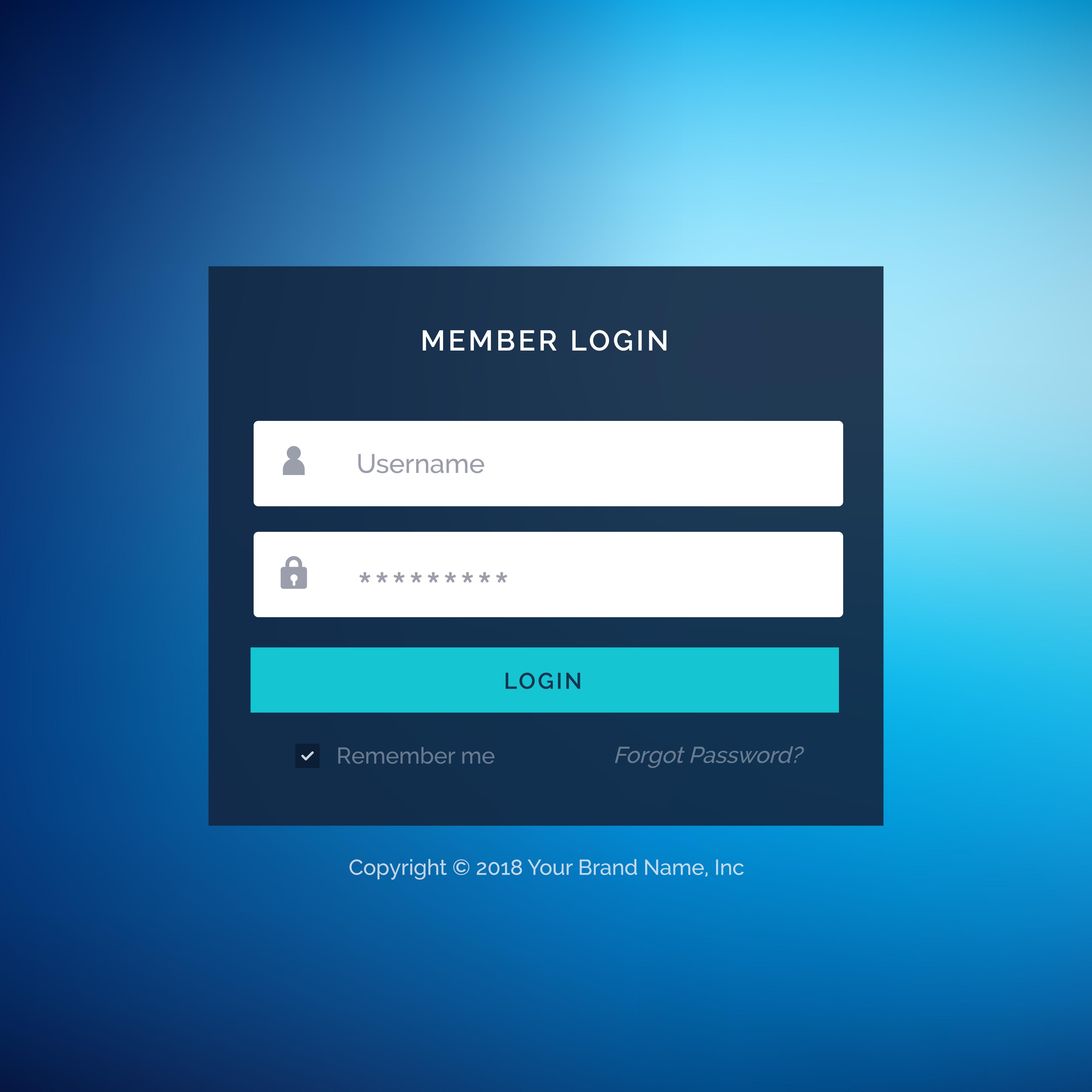 Blue Flat Ui Template Design In Vector Download Free Vector Art