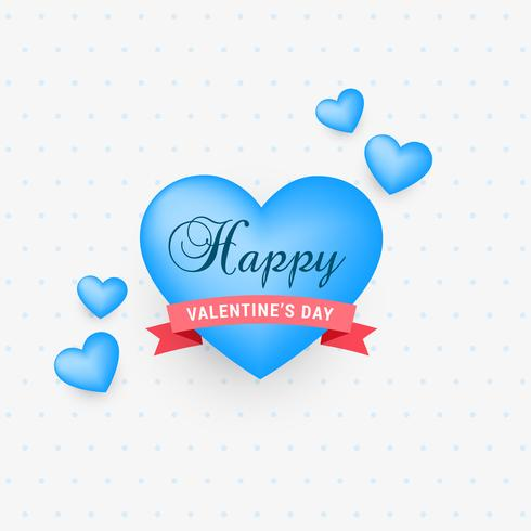 cute blue hearts with ribbon for valentine's day