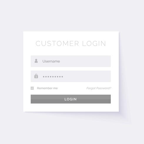 minimal white login form design template