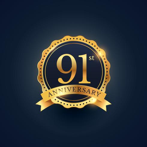 91st anniversary celebration badge label in golden color