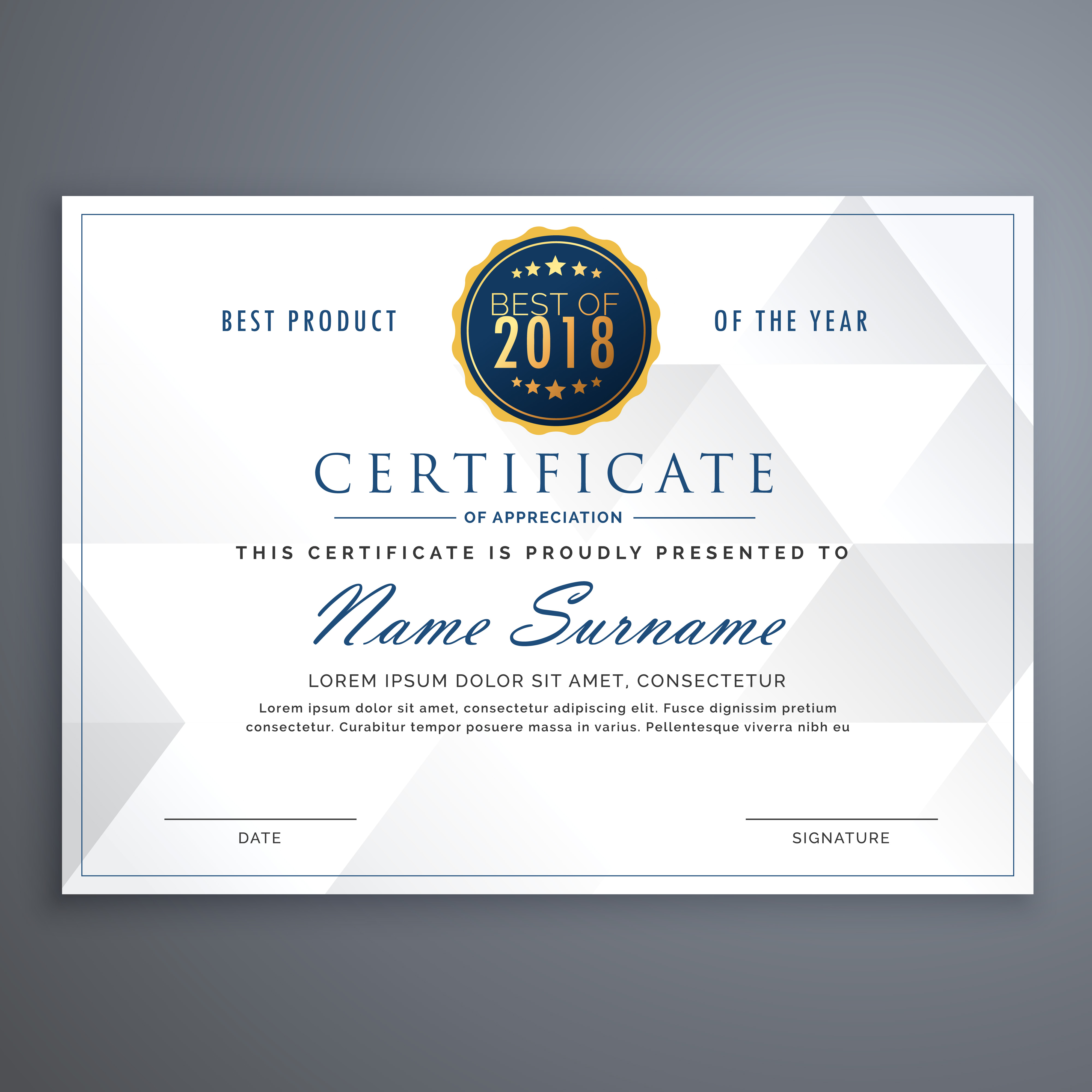 clean white certificate design template - Download Free ...