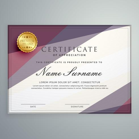 modern vector certificate template design with purple geometric
