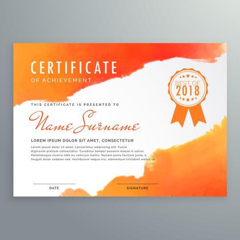 modern certificate design with orange ink