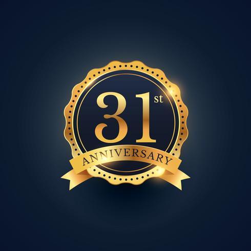 31st anniversary celebration badge label in golden color