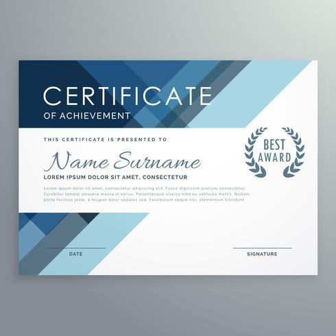 Blaues Zertifikatsdesign im professionellen Stil
