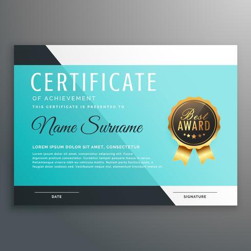 Elegante certificado azul plantilla de diseño vectorial.