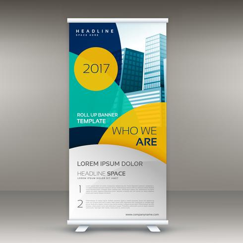 roll up banner design template with modern shapes