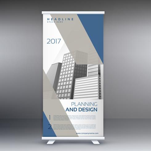clean modern gray and blue standee roll up banner design templat