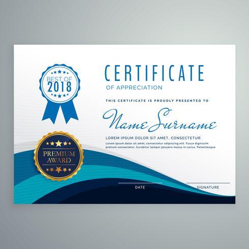 blaue wellenförmige Zertifikat Designvorlage