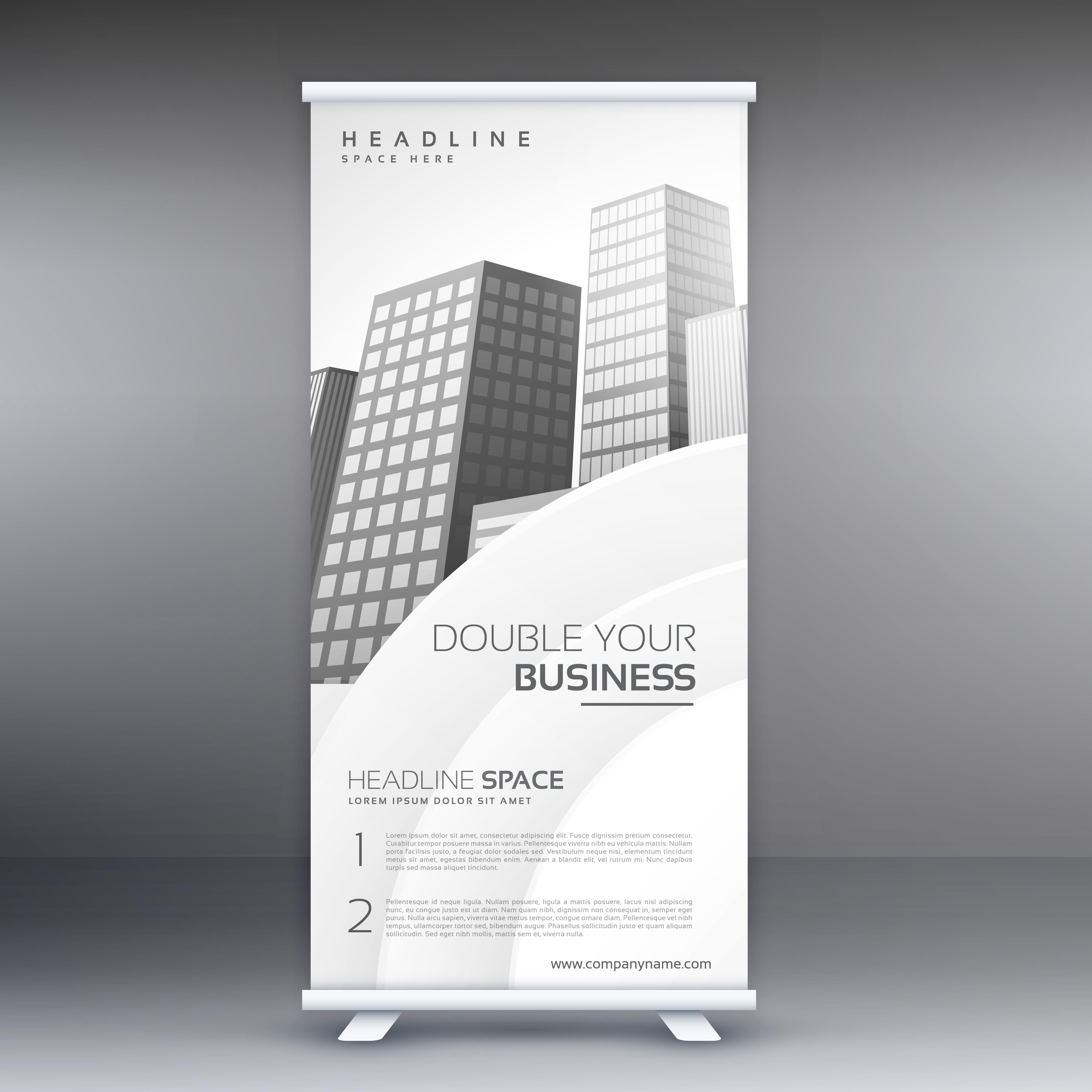 Elegant White Standee Roll Up Banner Design Template