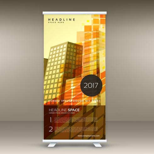 abstract yellow standee roll up banner design in retro theme