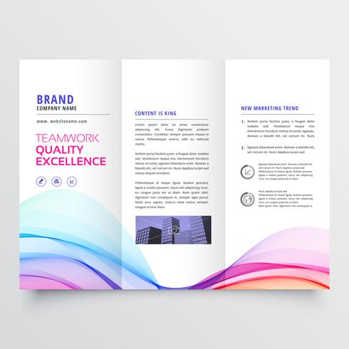 colorful wavy trifold business brochure design
