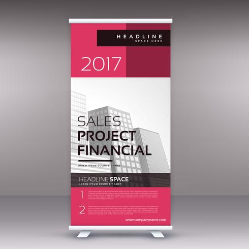 clean modern pink standee roll up banner design template