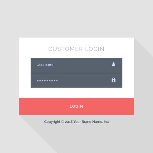 flat white login form UI template design