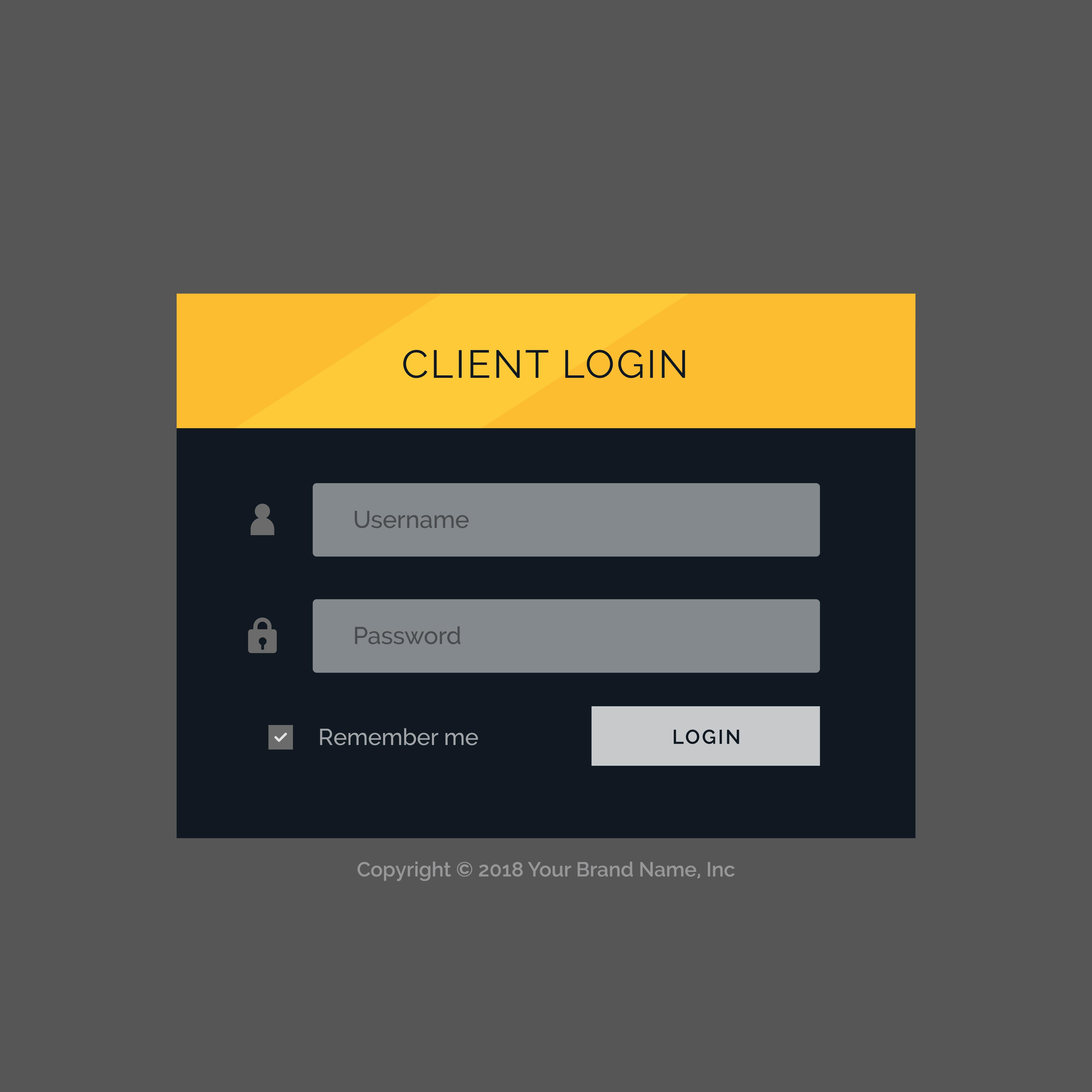 Flat Modern Login Form Ui Template Design Download Free Vector Art