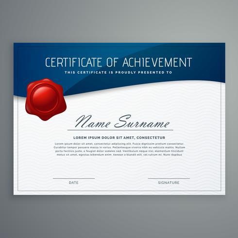 Plantilla de diseño de certificado con forma de curva azul
