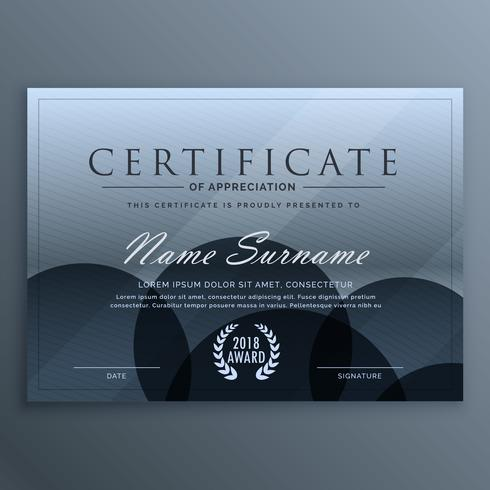 abstract blue dark certificate template design