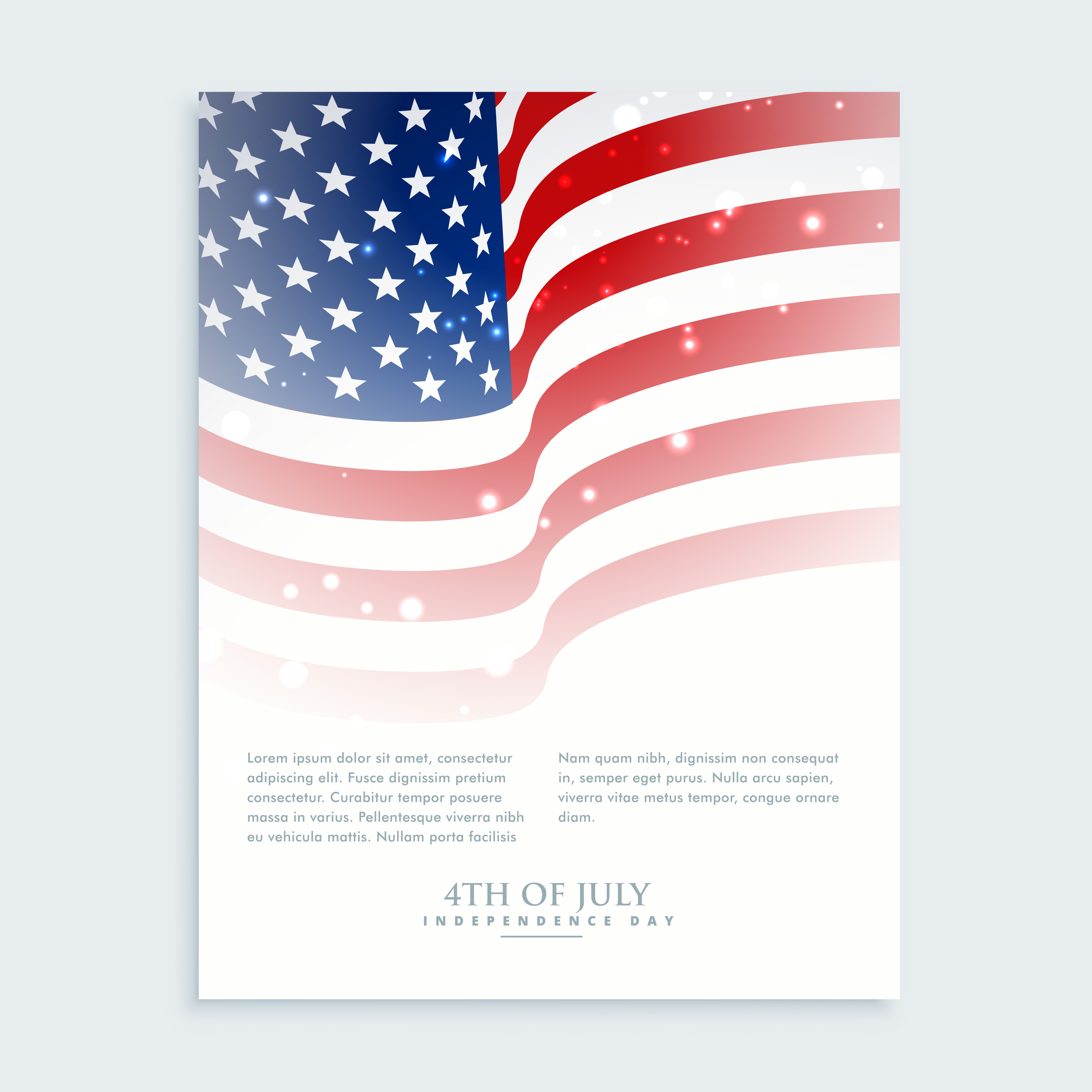 flyer of 4th of july with smerican flag