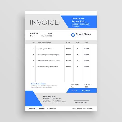modern business invoice template vector design