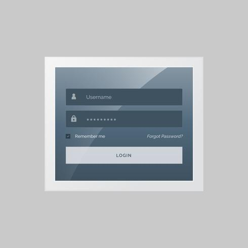modern login form design in gray and blue theme