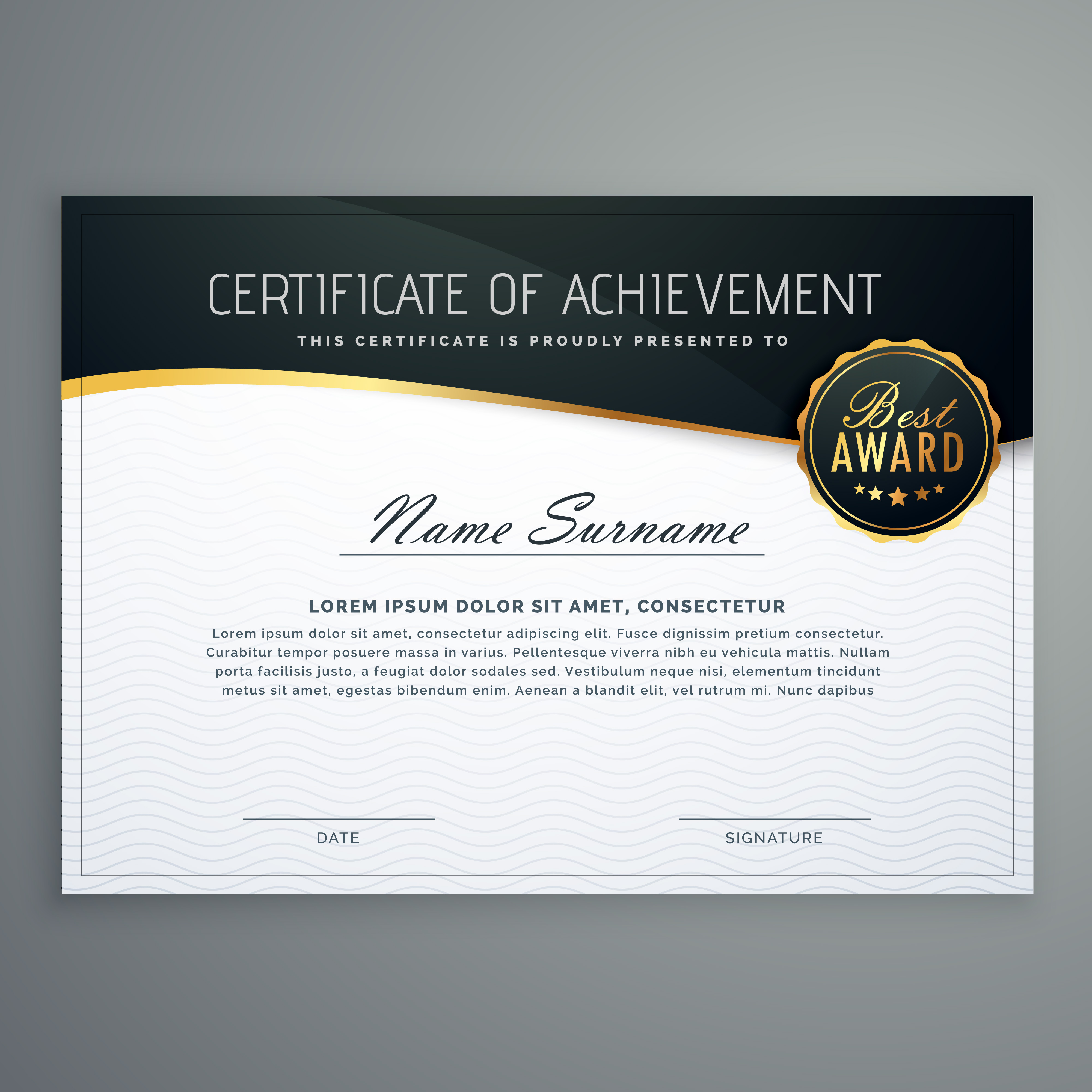 Certificate Design With Luxury Style Pattern Diploma Template