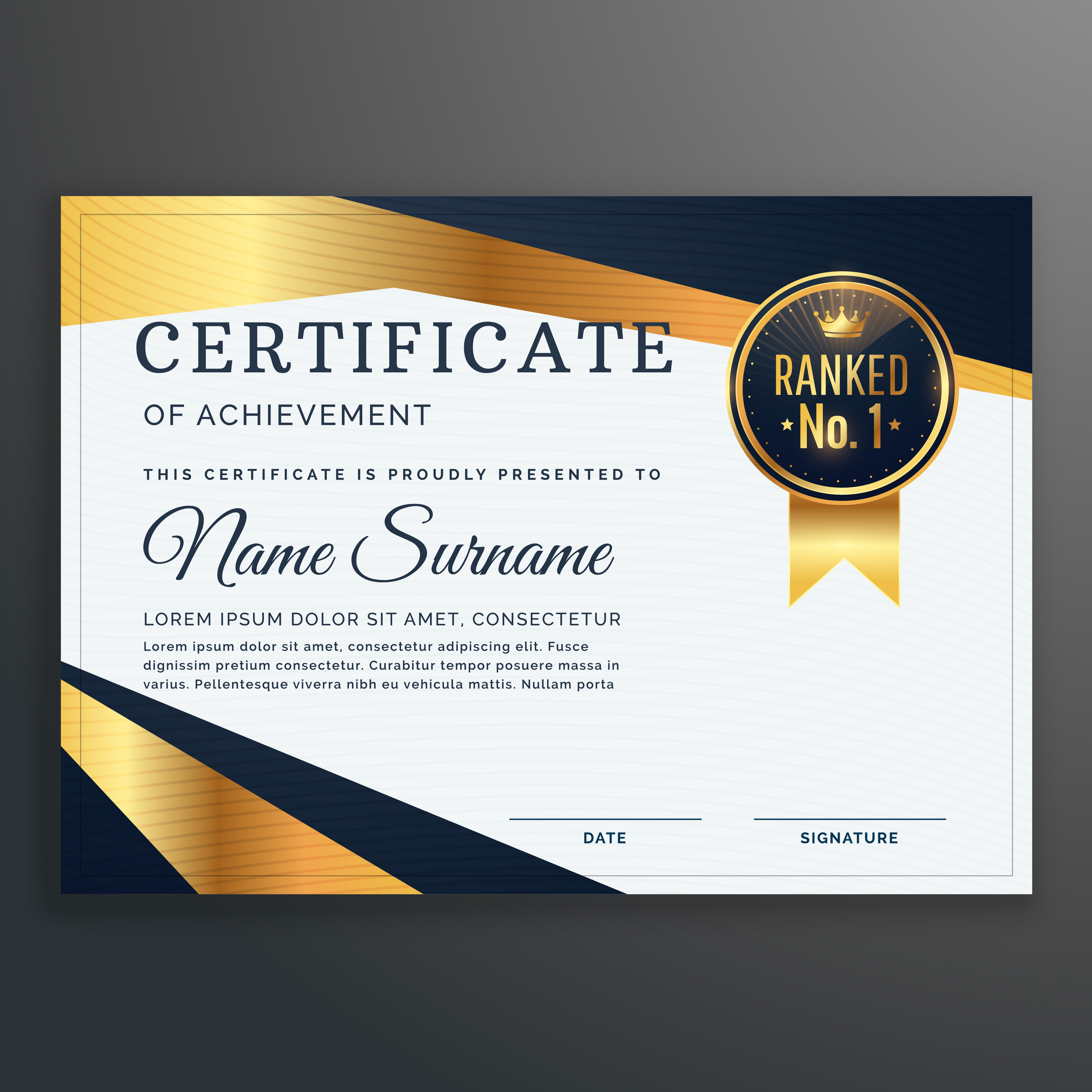 certificate template with golden and black shapes vector ...