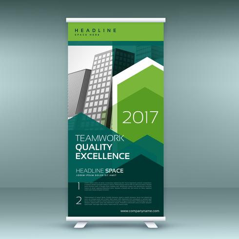 stylish green roll up presentation banner template
