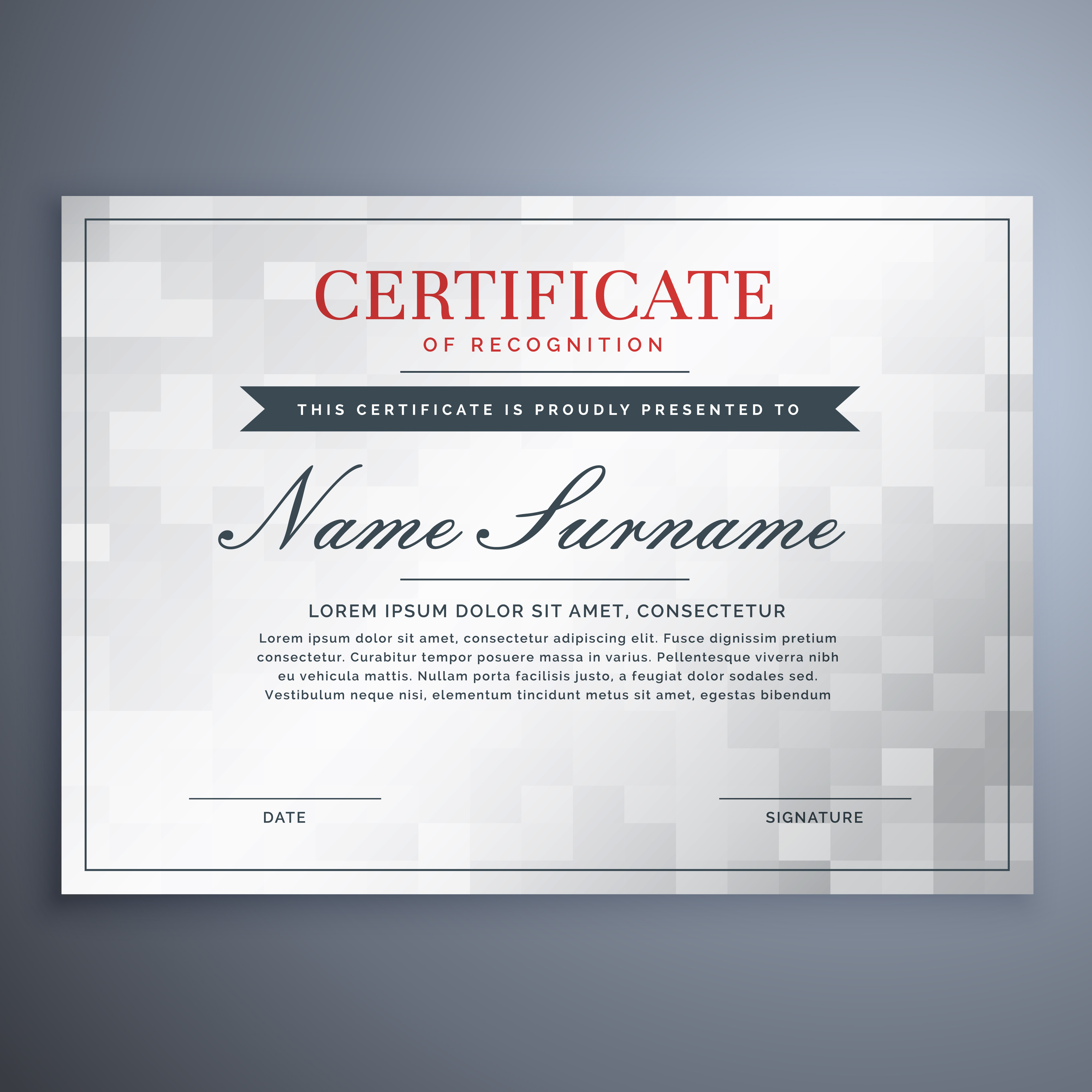 Elegant Certificate Design With White And Gray Checker Box