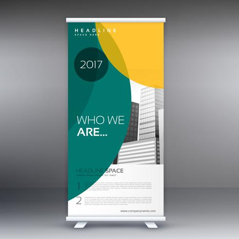 modern standee roll up banner design with green and yellow shape