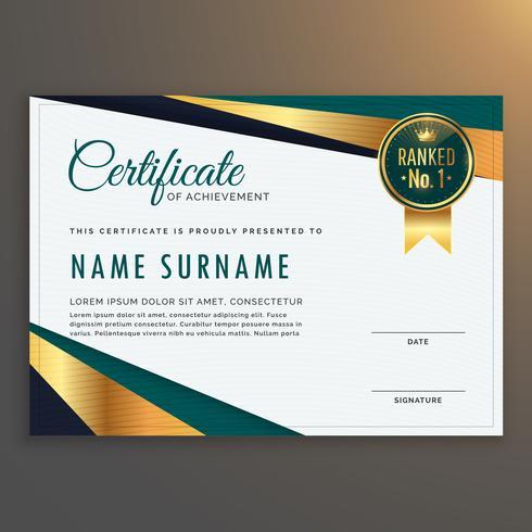 diseño moderno premium certificado plantilla vector