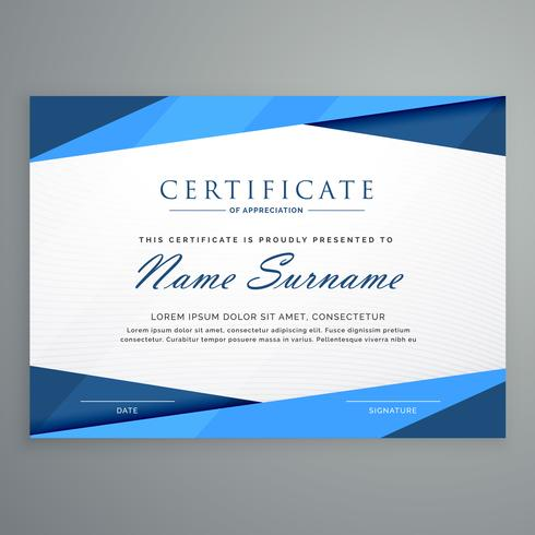 Modern Blue Triangle Certificate Template  Download Free Vector Art