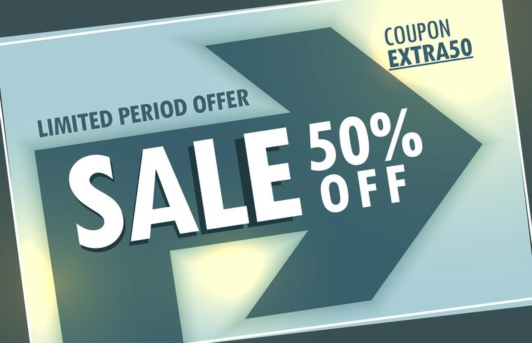 sale discount banner poster design with arrow sign
