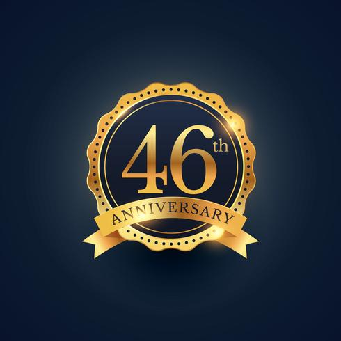 46th anniversary celebration badge label in golden color