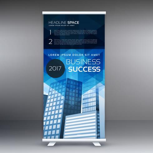 blue vertical roll up banner template design for your business p