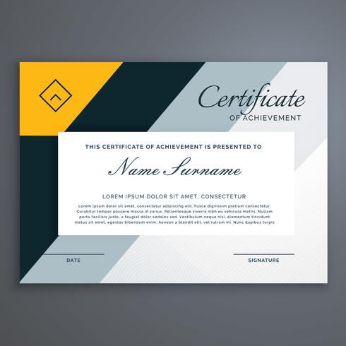 modern certificate design in yellow geometric shapes