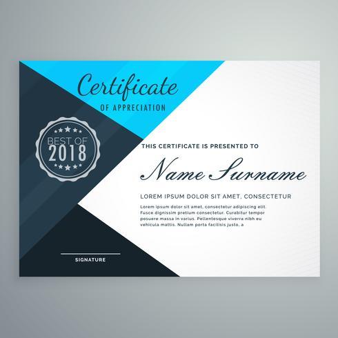 modèle de conception de certificat de diplôme bleu élégant