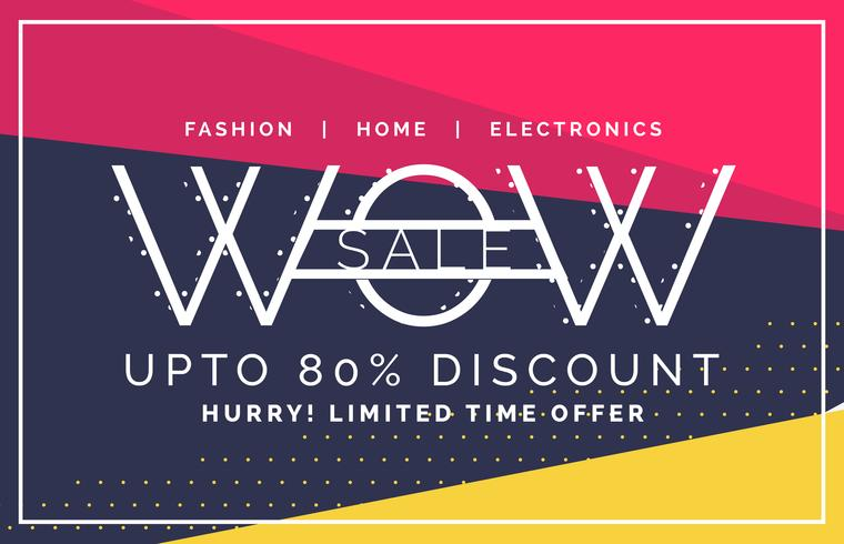 wow sale and discount voucher banner in flat style