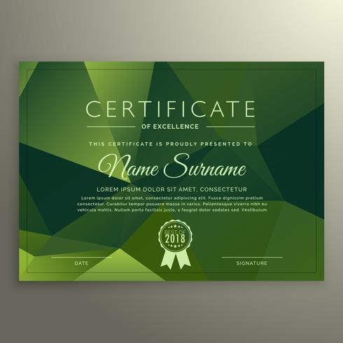 certificate of excellance design with abstract green poly shapes