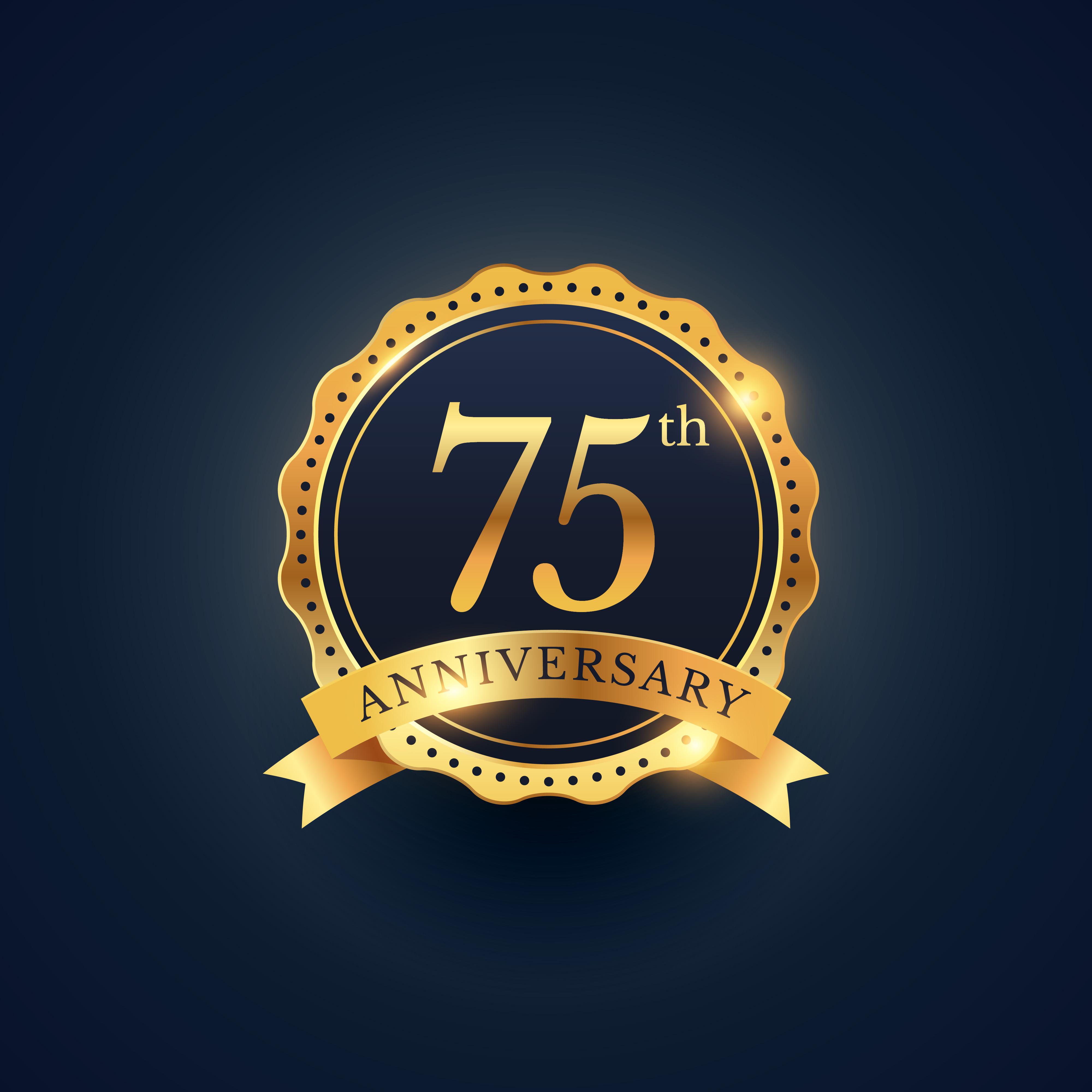 75th Anniversary Celebration Badge Label In Golden Color Download