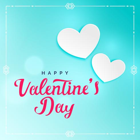 lovely blue valentine's day background with white hearts