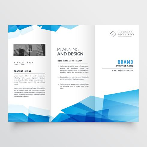 blue geometric abstract triple fold brochure design template