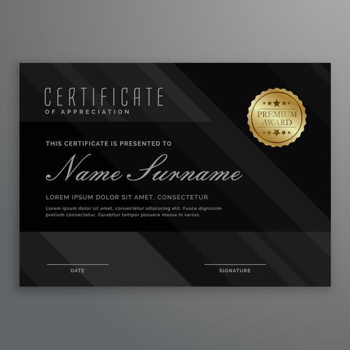 dark diploma certificate creative design with award symbol