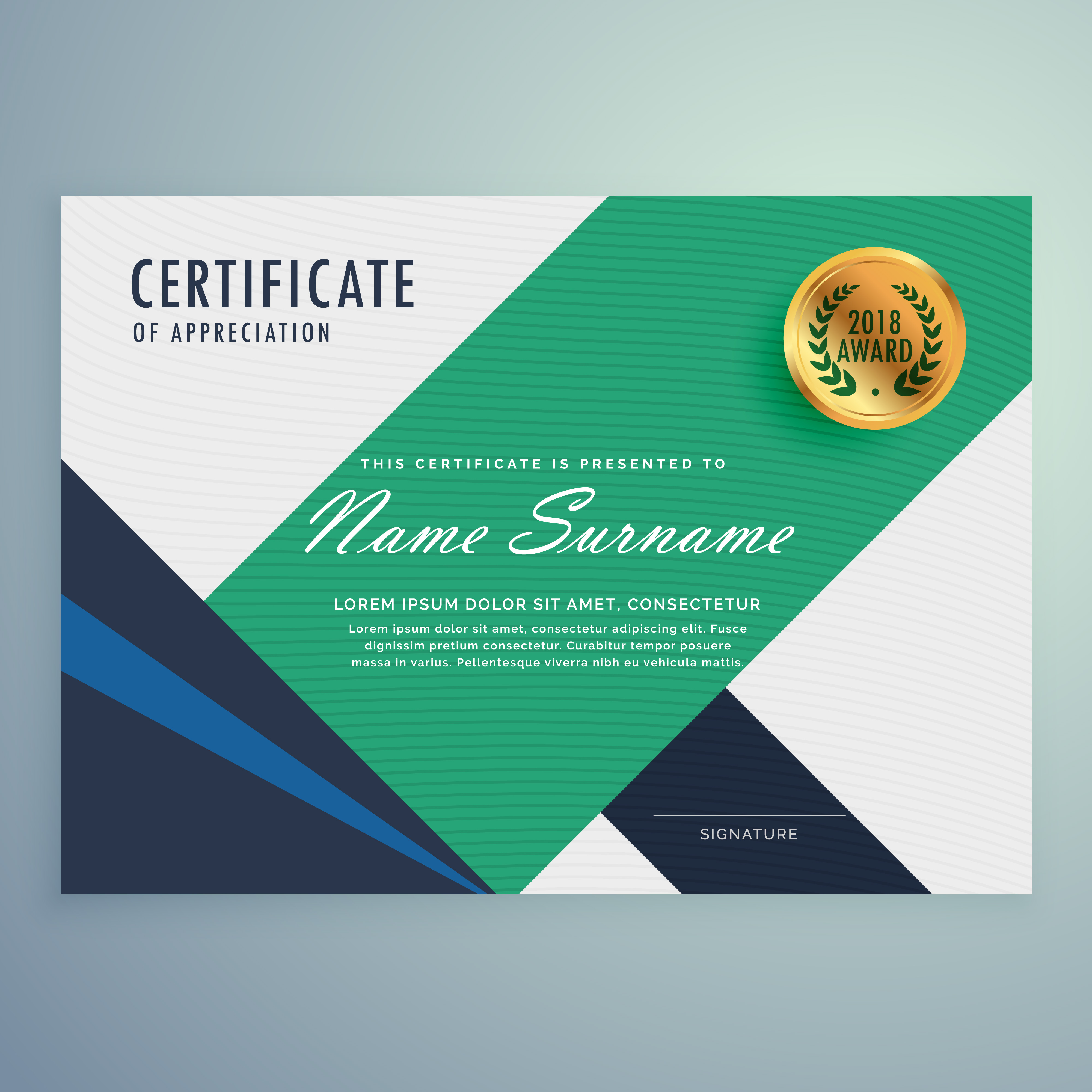 modern certificate of appreciation template with geometric ...