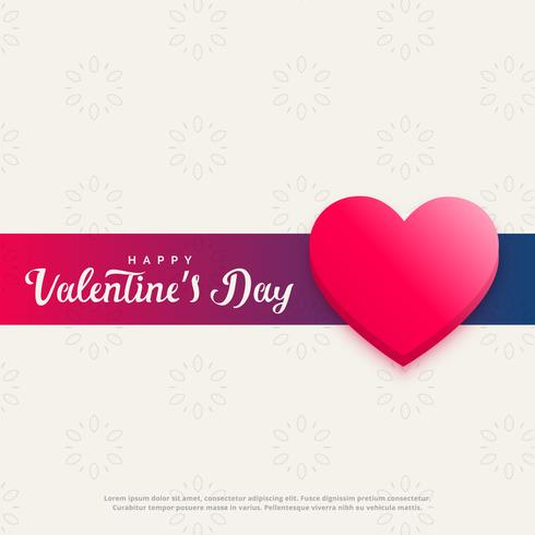 conception de bannière élégante Saint Valentin avec coeur rose