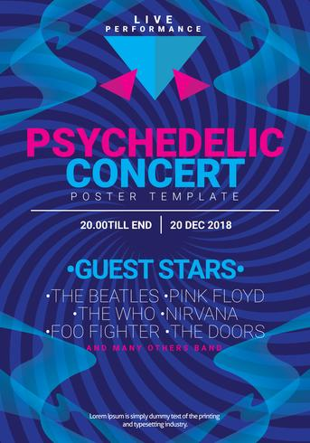 simple psychedelic concert poster template download free vector