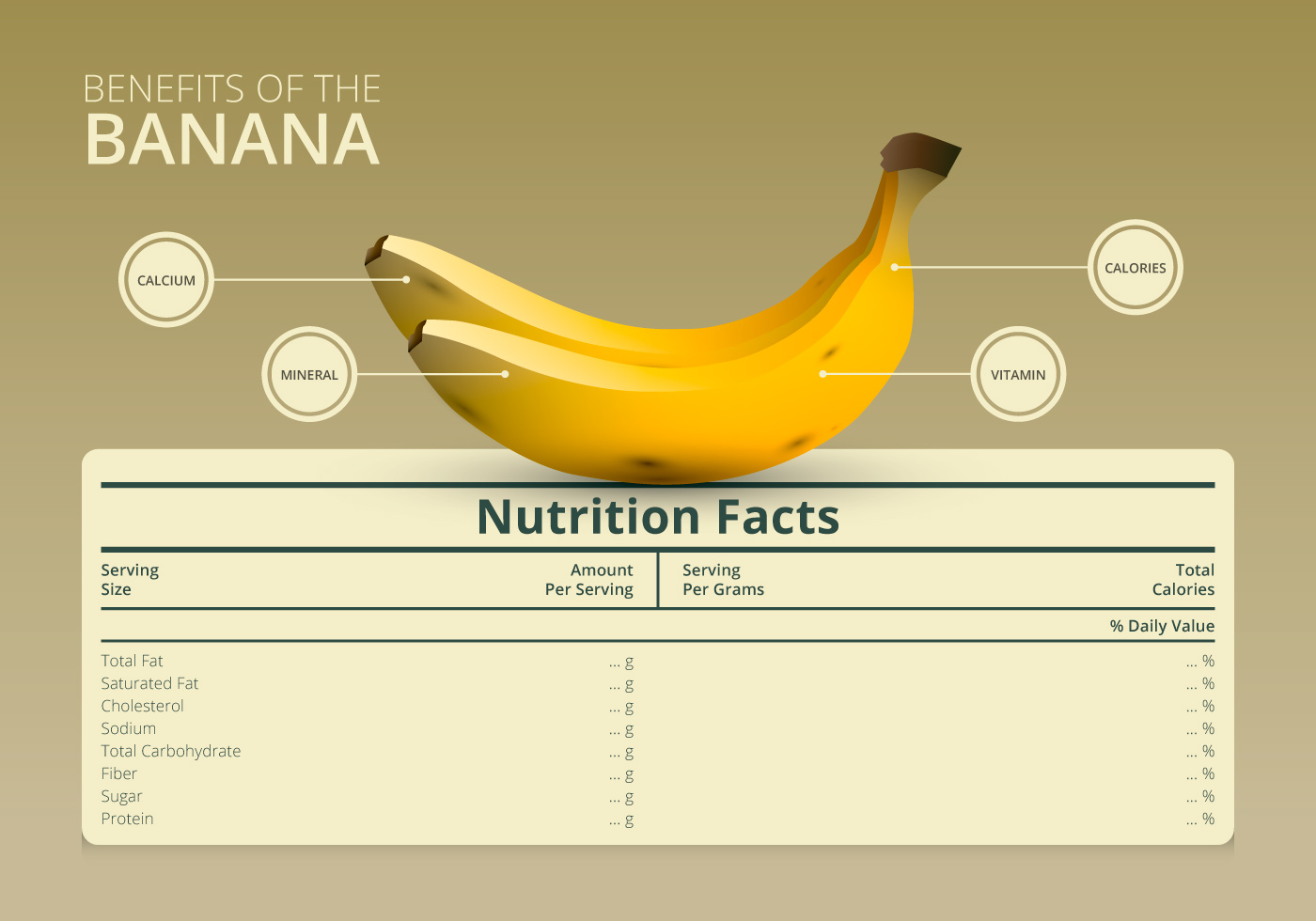 Illustration Of A Nutrition Facts Label With A Banana