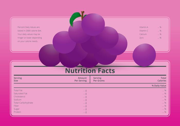 Illustration av en näringsfakta etikett med en druvfrukt