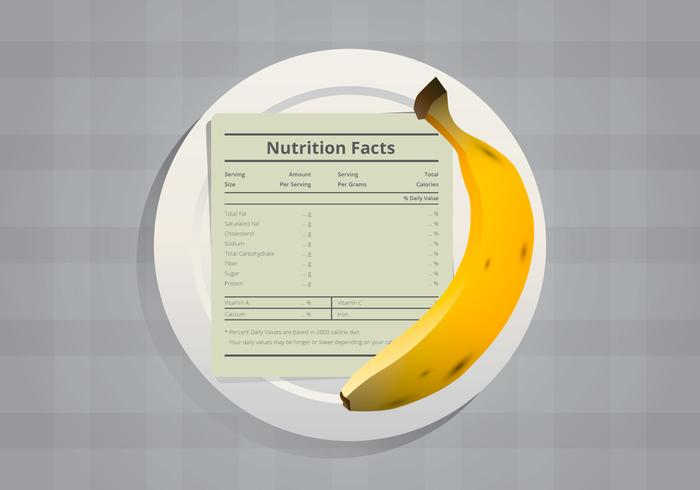 Nutrition Facts of Banana Infographic Templates, Served in Plate