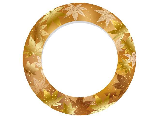 Gold, circular autumn frame.