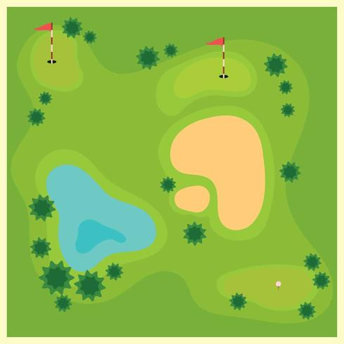 Golf Course From Top View illustration vector